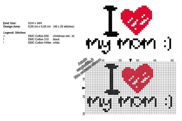 Amo la mia mamma schema punto croce Festa Della Mamma