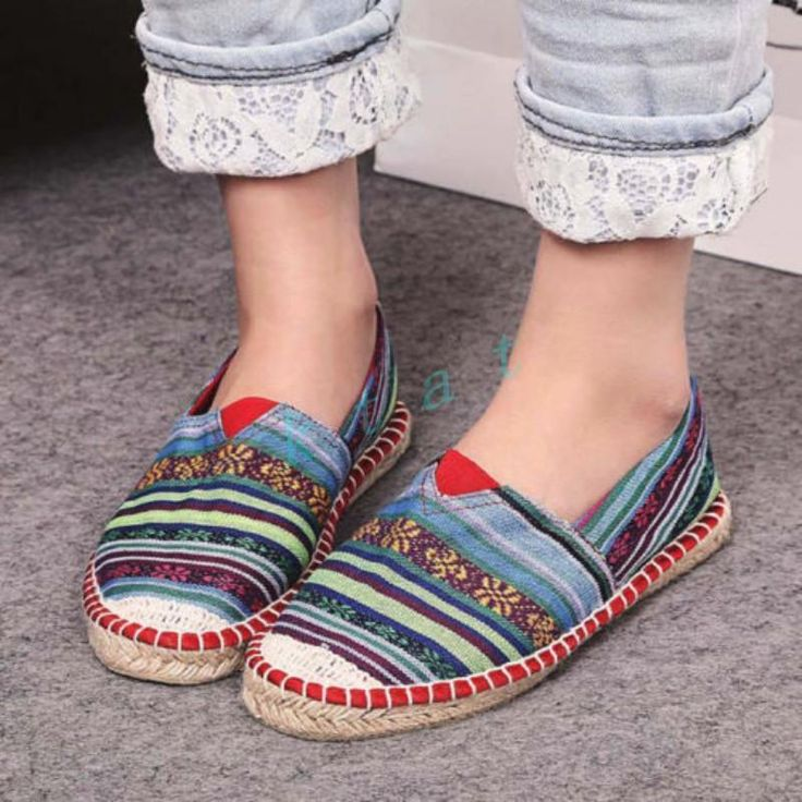 Retro Womens Espadrilles Loafer Breathable Canvas Shoes Oxfords Moccasin