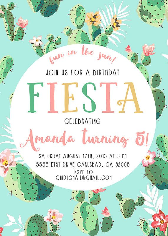 Time to fiesta! Celebrate the mexican way with this cactus, mint birthday party invitation.  * Need your first proof within one buisness day?