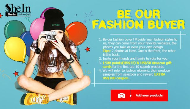 Fashion Inspiration Contest   No purchase needed! Top ten entries get 1500 Points ($15 equivalent) and $50 Amazon Gift cards each!