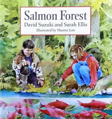 """Salmon Forest! Kate goes with her father, a fish biologist, to the river where he works — a river in the Pacific rain forest — the """"salmon forest"""". Together they watch the sockeye salmon returning to the river to spawn, and witness a bear scooping up a salmon. Next, Kate and her dad run into a Native boy named Brett and his family fishing. David Suzuki and Sarah Ellis's charming and informative text and Sheena Lott's watercolors magically evoke the spirit of the West Coast rain forest."""