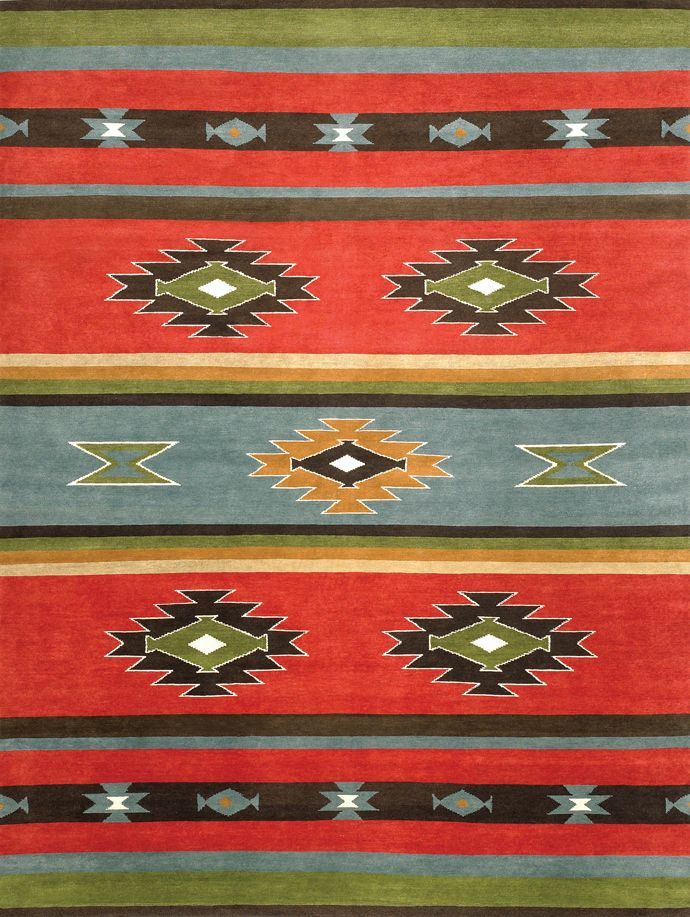 LW49A, red/grey blue – Southwestern rugs, Luxury Lodge comes to life in this imaginative collection. Traditions of the past meet modern needs for quality, beauty and comfort in these unique and timeless designs inspired by Native American motifs from the American Southwest. Soft pile weave replaces the traditional flat weave of typical Navajo-inspired carpets, resulting in luxuriously soft, superior quality hand-woven rugs.