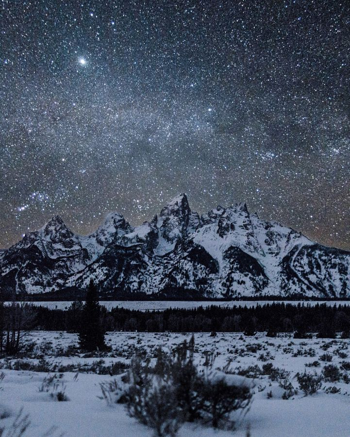 Starry sky over the Tetons on a bitterly cold night (Wyoming) by Tanner Wendell Stewart