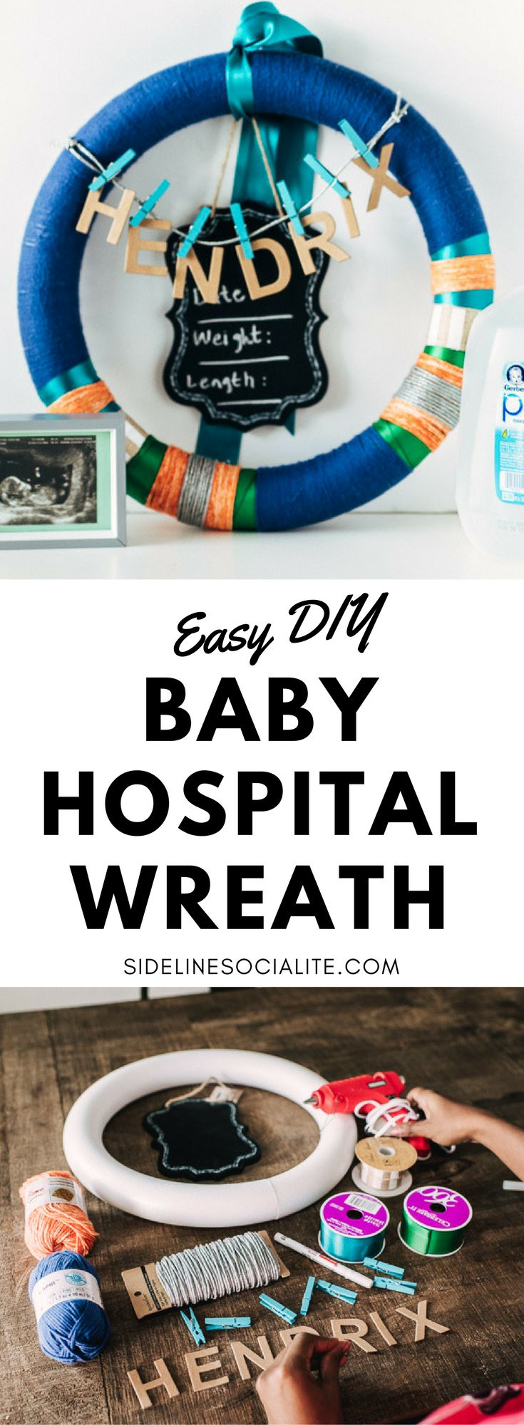 Super easy DIY baby hospital door wreath perfect to decorate the hospital door announcing baby's arrival. Great for baby boy and baby girl. #gerberpurewater #ad @walmart