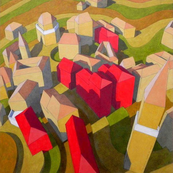 """""""le case rosse"""". Dipinto ad olio originale di dipinti e disegni di Federico Cortese - pezzi unici ed originali su DaWanda.com"""