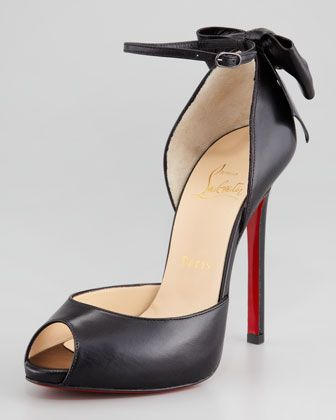 Dos Noeud Back-Bow d\'Orsay Red Sole Pump, Black by Christian Louboutin at Neiman Marcus.