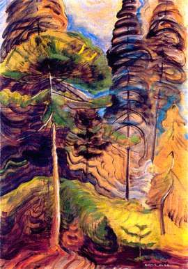 As a contemporary of Canada`s Group of Seven, Emily Carr drew inspiration to create her own series of vivid landscape paintings. The Forest Landscape from 1931 shows her bold use of colours and brush strokes as she adopted a modern and post-impressionist style later in her career. http://www.emilycarr.ca/
