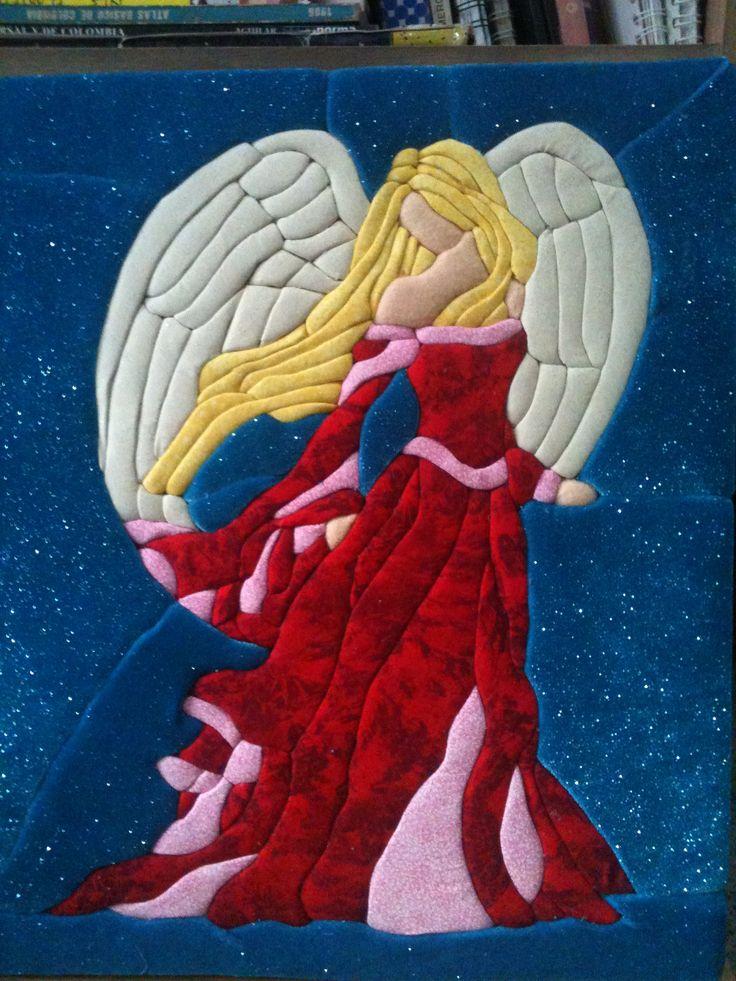 patchwork sin aguja inspirado en un vitral -angel