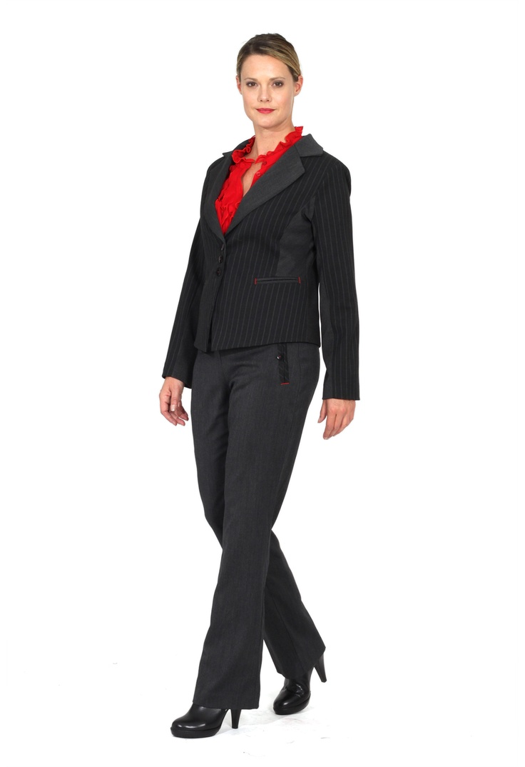 Redhead Office - Regent Street Slim Pant. This pant is made in a subtle melange fabric and has a slim silhouette. The front fly and pocket details feature a contrast stripe trim. This is a key piece for any corporate wardrobe.