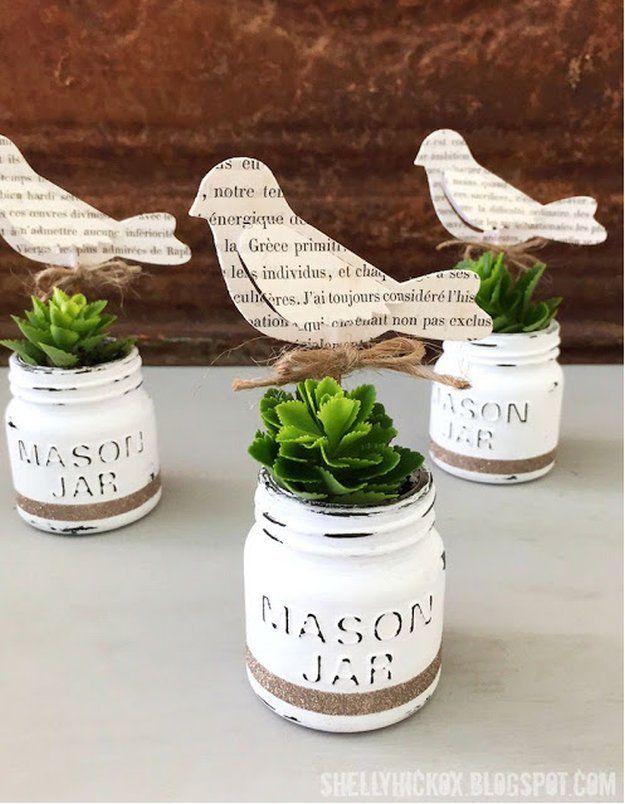 DecoArt Chalk Paint Mini Mason Jar Planters|23 DIY Crafts With Mini Mason Jars
