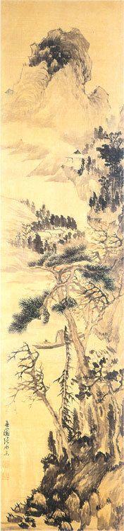 (Korea) Landscape by Owon Jang Seung-eop (1843- 1897). 148.5× 35cm. Seoul University Museum of Korea. 산수유 .