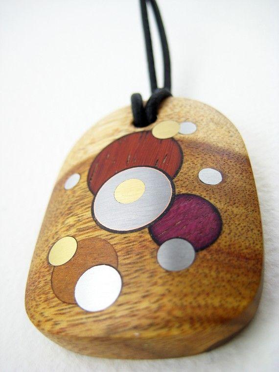 Handmade Wood Pendant with Metal Accents Disco by RamshackleStudio