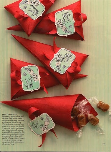 Red fold-over cones packaging. Paper, ribbon, labels, done. Perfect for home baked holiday goodies!