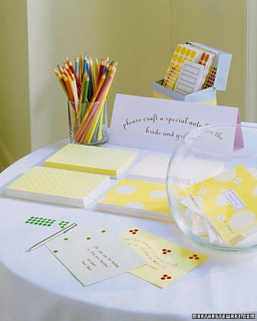 Set up a table at your reception with craft supplies; pretty card stock, colored pencils, an array of stickers, and have guests embellish their notes with fun designs