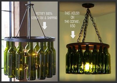 Wine Bottle Chandelier for about $50 plus the fun of emptying the bottles to recycle.