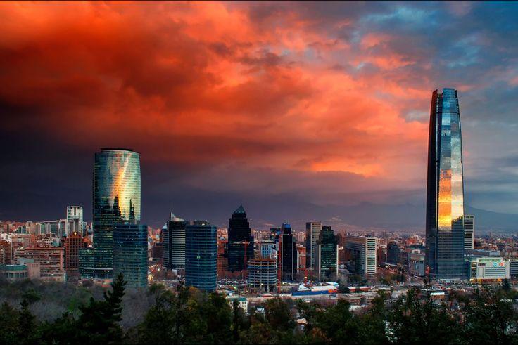 Coucher de soleil sur Santiago