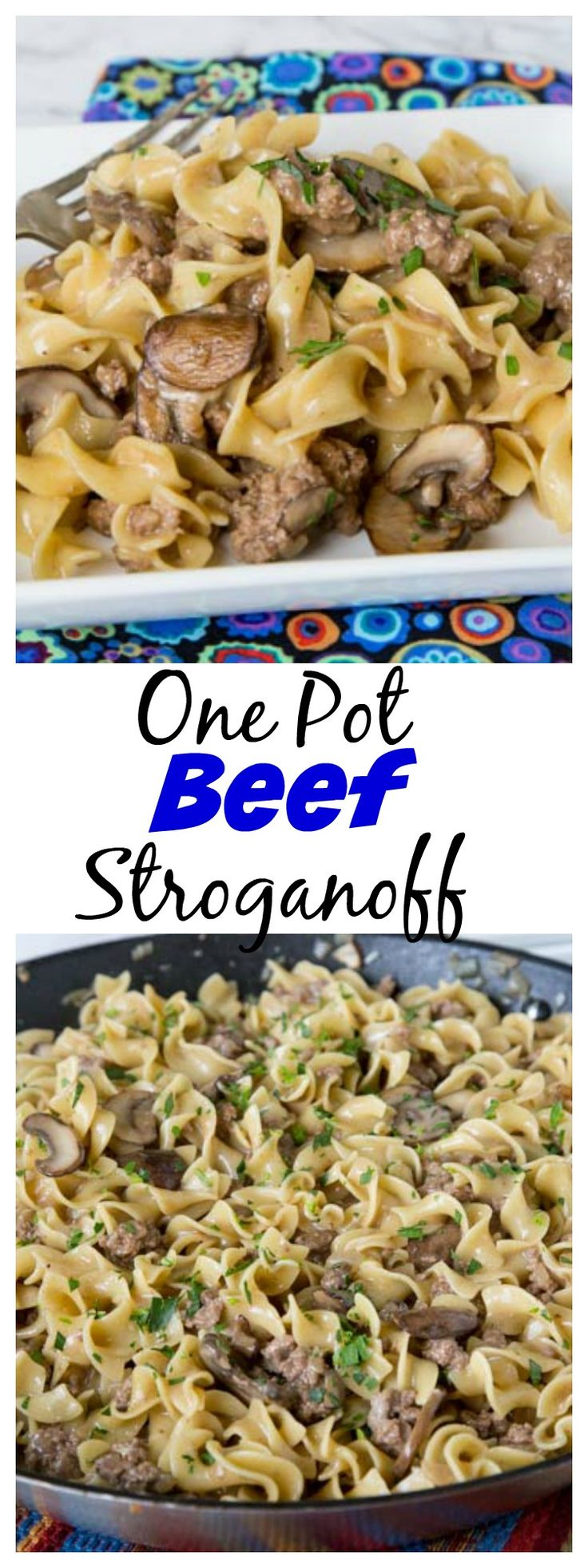 Busy weeknights call for quick and easy dinners. This one-pot beef stroganoff is a quick and easy version of the classic, so you can have it on your busiest night. Plus it's more budget friendly than the original because you use ground beef to make it come together. #ad