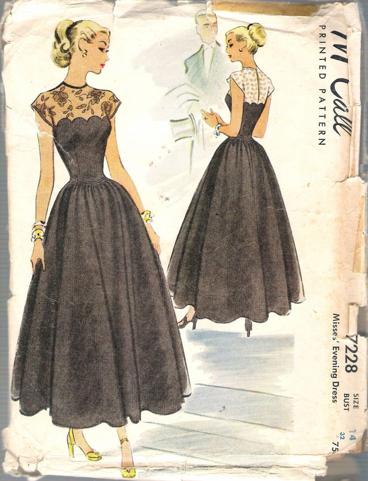 "Vintage 1948 McCall 7228 Lace Yoke Scalloped Bodice Evening Dress Sewing Pattern Size 14 Bust 32"" UNCUT by Recycledelic1 on Etsy"
