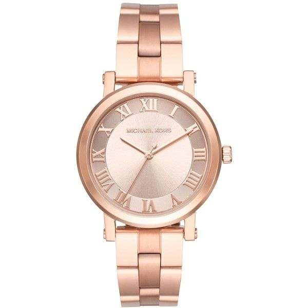 Regal Roman numerals decorate the dial of this rose gold-tone timepiece from Michael Kors' beautiful Norie collection.