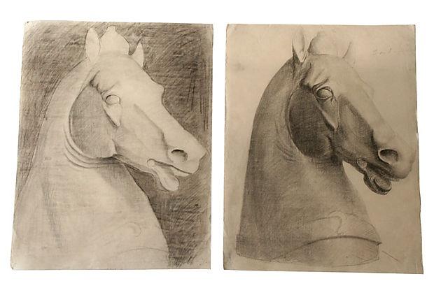 Drawings of Horse Statues, Pair on OneKingsLane.com