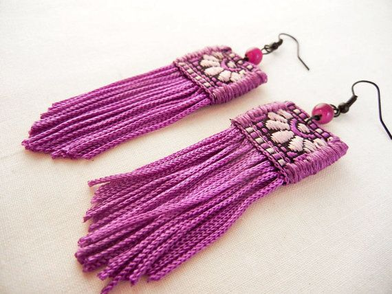 Vivid fringe earrings  bright purple textile by bohemiantown, $30.00