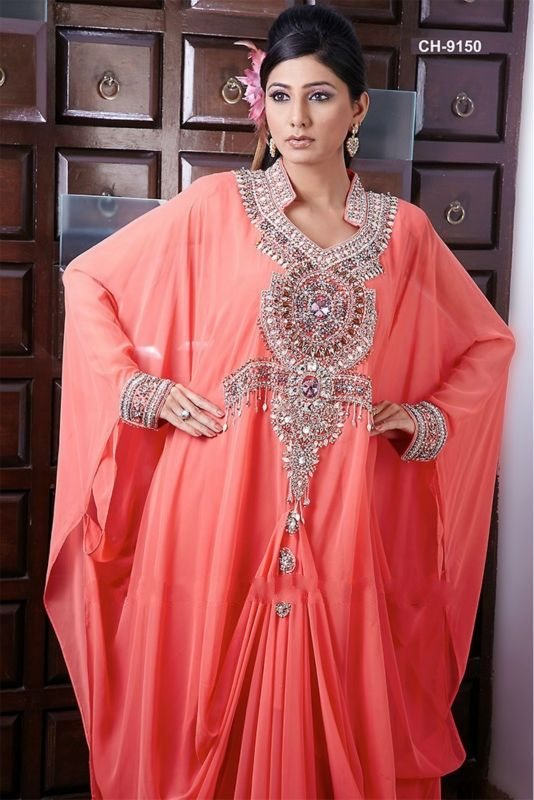 Discount Custom Made Coral Chiffon Evening Dress For Muslim Women Free Measurement