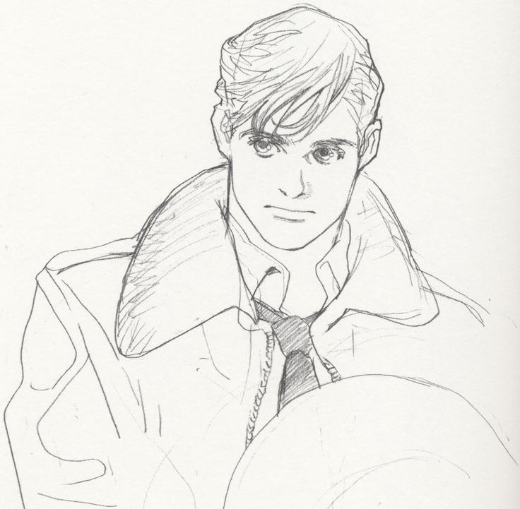 Sketch of man wearing trench coat by manga artist Natsuki Sumeragi.