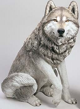 Yard Art Life Size Wolf Garden Statue Snow Dog