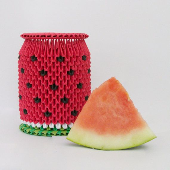 Vase 3d Origami Diagram: Juicy Watermelon 3D Origami Vase, Home Accents, Workplace