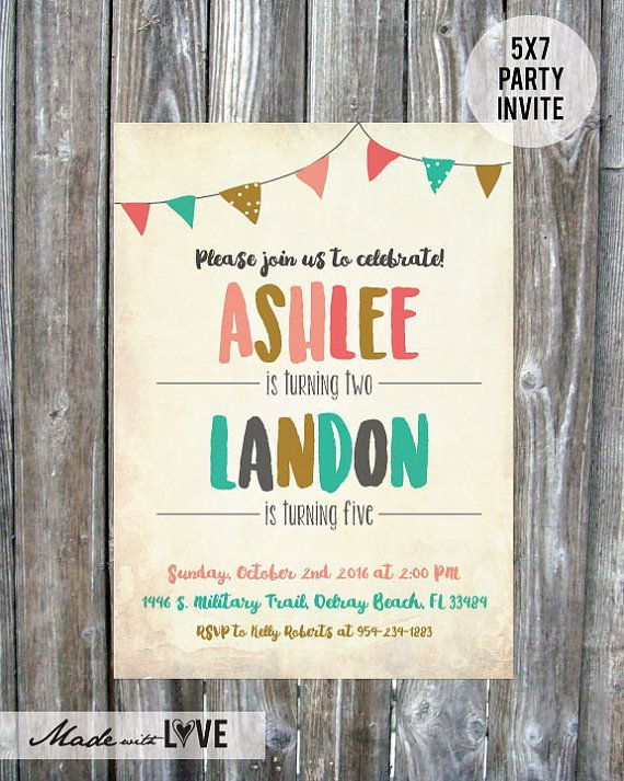 Joint Birthday Party Invite Boy and Girl   by madewithlovebyalesha