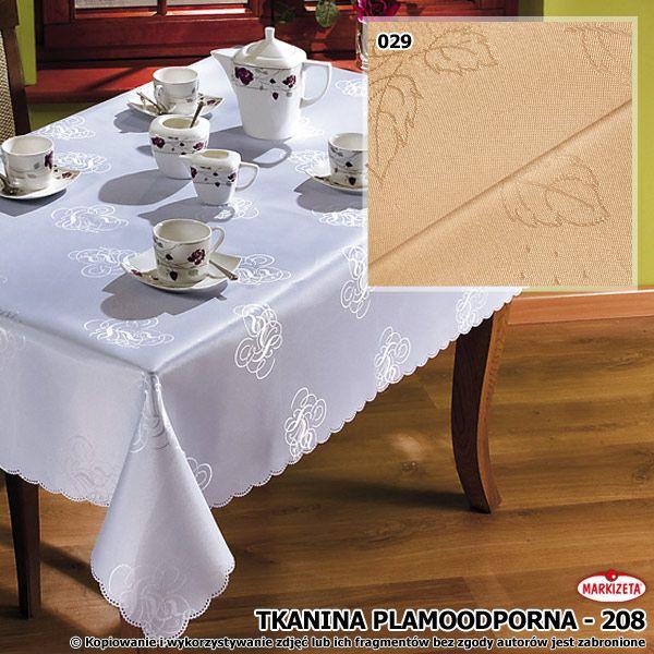 #Nowoczesny_obrus  Delikatny wzór z drobnych liści to piękna ozdoba tej plamoodpornej tkaniny. Tu oferujemy ją w kremowym kolorze. Tkanina odpowiednia do szycia różnorakich obrusów i serwet. Taki obrus spodoba się miłośnikom praktycznej elegancji.  szerokość: 160 cm  kolor: kremowy materiał: tkanina plamoodporna kasandra.com.pl
