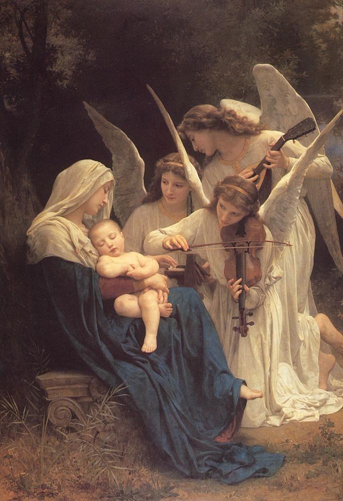 bijbelse voorstelling.  hier zie je dat er engelen in voor komen en een vrouw met een kindje, het ziet er heel hemels uit.