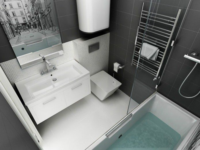 ванная в дизайне однокомнатной квартиры 45 кв. м.