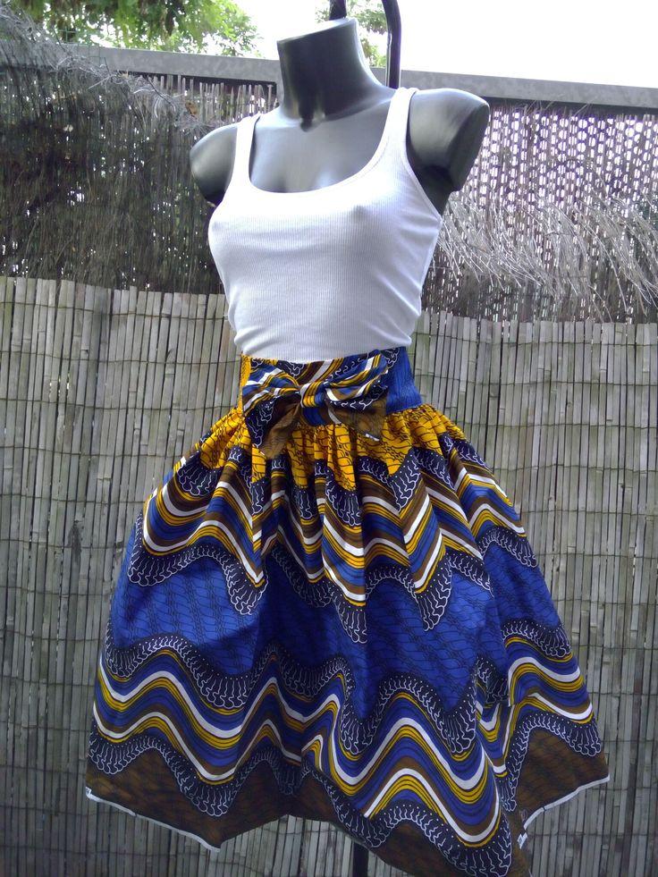 jupe taile haute en tissu africain - par EKEEYA CREATIONS sur Afrikrea, €48.00