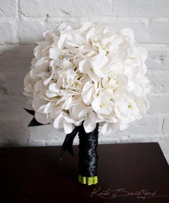 White Hydrangea Wedding Bouquet - White and Black wedding bouquet by KateSaidYes, www.katesaidyes.etsy.com