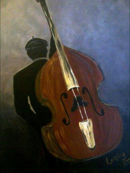 Cello man Acrylic on hardboard