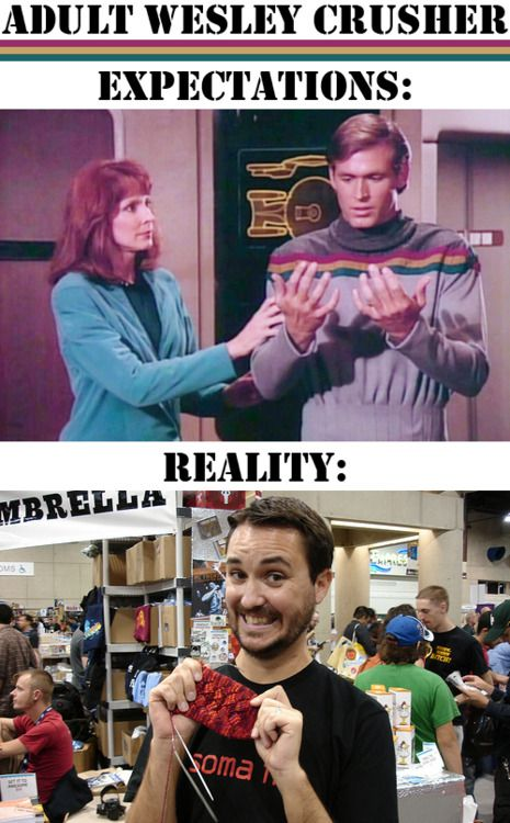 Wesley Crusher (played by Wil Wheaton) looks to be very happy about that knitting! He looks like he's at a Star Trek convention.