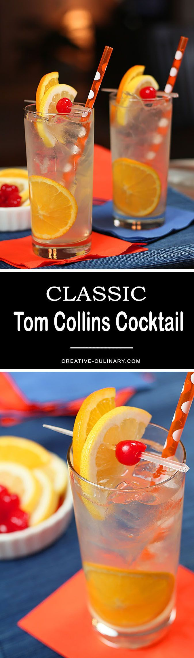 The Tom Collins Cocktail is one I love all year round; it's perfect for a crowd and a great accompaniment to spicy foods served at parties. via @creativculinary