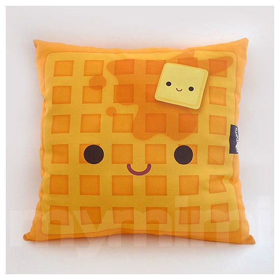 "16 x 16"" Decorative Pillow, Waffle Pillow, Breakfast Food, Kawaii, Stuffed Toy, Home Decor, Kids Room Decor, Room Decor"