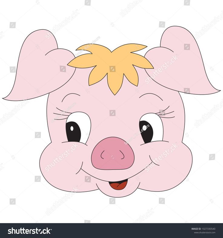 Pink Piggy Face Cartoon, the Beautiful Outlined ...