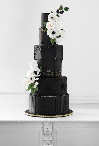 STYLISH BLACK WEDDING CAKE FOR UNIQUE OCCASIONS #BlackCake #WeddingCake #Dessert