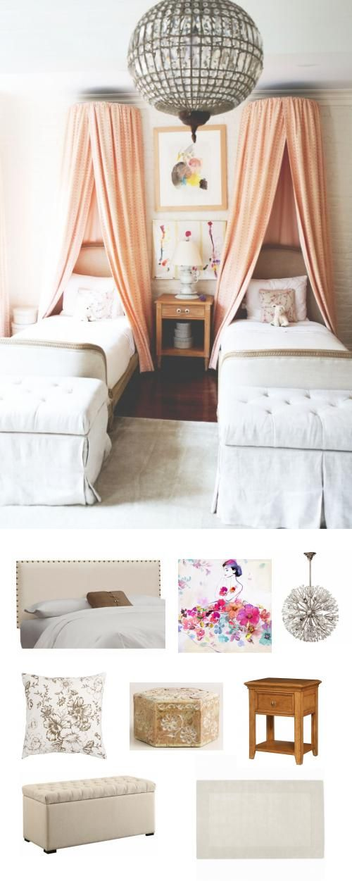 An elegant bedroom for twins or two sisters sharing a room.