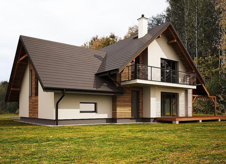 Projekty, Projekt elewacji domu jednorodzinnego - Projekt elewacji nowoczesnego domu jednorodzinnego. Prostota formy oraz designerskie rozwiązania na wykończenie ścian. Połączenie drewna,...