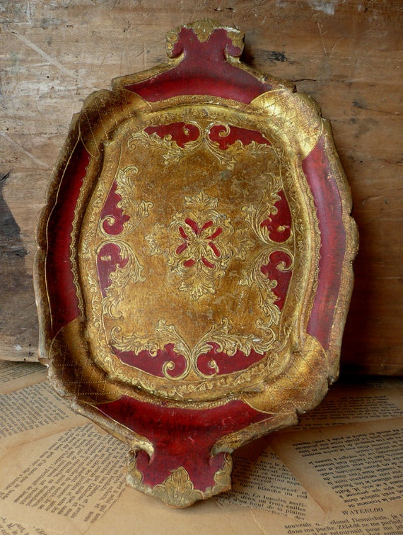 vintage Italian Florentine Tray platter Red and by onemansjunque