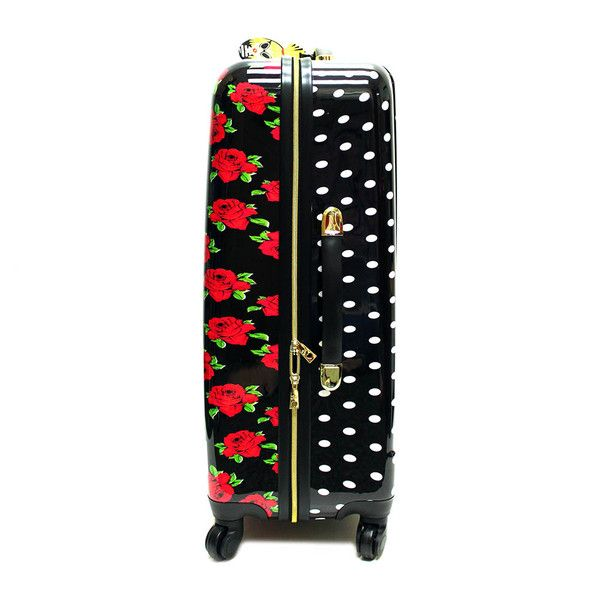 "Betsey Johnson 28"" Cover Roses Large Luggage ($68) ❤ liked on Polyvore featuring bags and luggage"