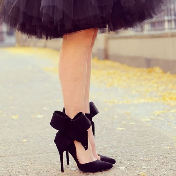 Aminah Abdul Jillil Heels #bows | atlantic-pacific: Shoes, Fashion, Tulle Skirts, Style, Tutu, Dress, Outfit, Black Bows, Bow Heels