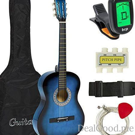 Best Choice Products Beginners 38 Acoustic Guitar with Case Strap Digital E-Tuner and Pick (Blue)