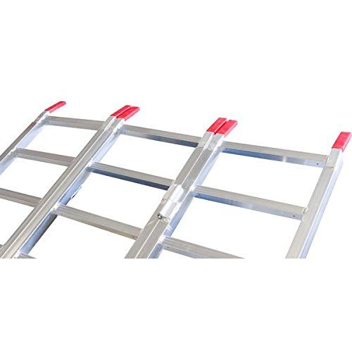 Full Width Aluminum 3-Fold ATV Truck Loading Ramp  TF-8046 is an all-aluminum 80″ long x 46″ wide full width folding ATV Loading Ramp with a 1250 lb. distributed weight capacity. Includes 7 inch spaced serrated rungs designed specifically for ATV off-road tires, two safety straps to prevent ramp kick-outs and 4 inch grip surface fingers for a non-slip platform transition.    3-Fold ATV loading ramps with 1,250 lb. distributed weight capacity 3-Fold ATV loading ramps with 1,250 lb. di..