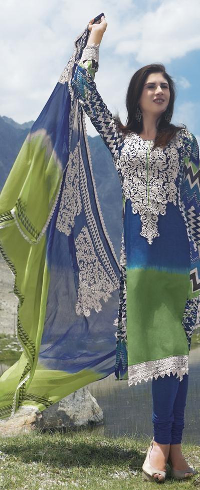$61.04 Green Full Sleeve Cotton Knee Length Churidar Suit 18743