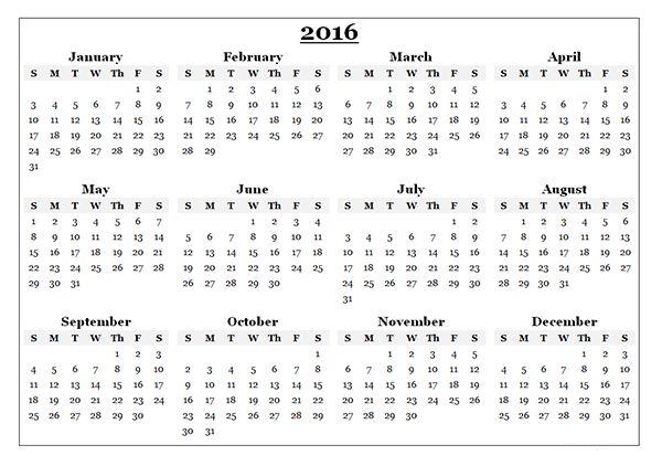 Printable Blank Calendar 2016 Yearly